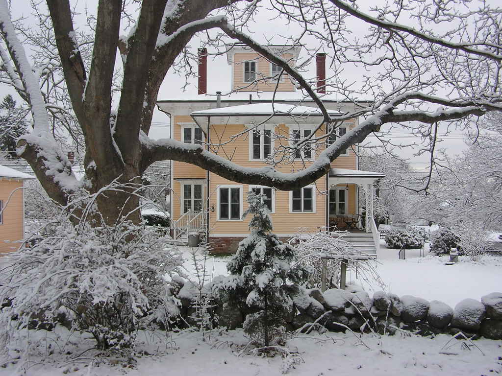 Italianate Villa Victorian in Snow